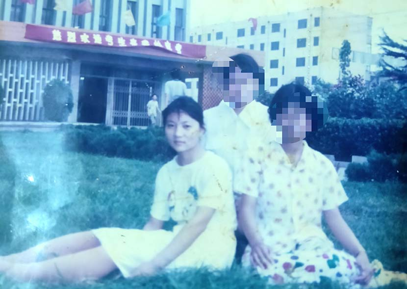 A group photo including Gou Jing (left) during her high school years in Jining, Shandong province, late 1990s. Courtesy of Gou Jing