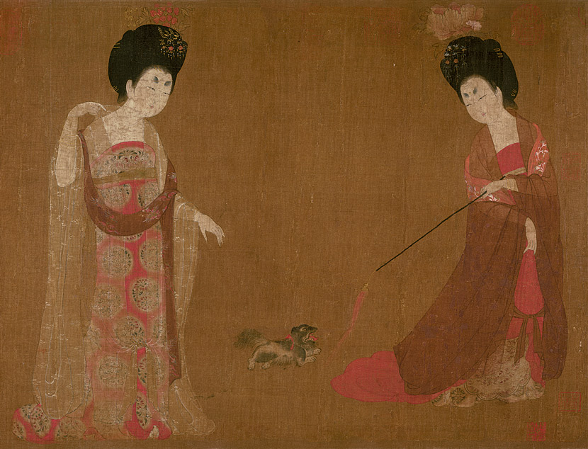 "Partial image of ""Court Ladies Wearing Flowered Headdresses,"" attributed to the Tang Dynasty painter Zhou Fang. From Liaoning Provincial Museum"