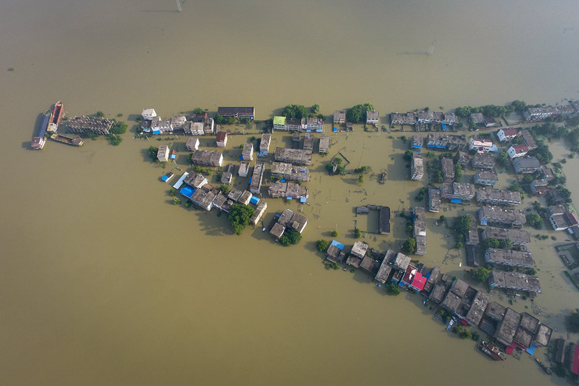 Zhanggang Village is flooded by a branch of the Yangtze River in Anqing, Anhui province, July 14, 2020. People Visual