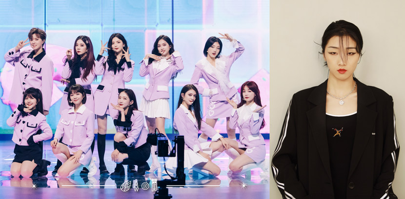 Left: Yamy (back row, first from right) poses for a promotional photo with her Rocket Girls 101 bandmates, June 2020. From @火箭少女101官博 on Weibo; Right: A portrait of Yamy posted July 2020. From @Yamy_郭颖 on Weibo