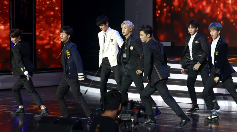 Young men put on a show at an entertainment agency recruitment event in Shanghai, Oct. 10, 2018. People Visual