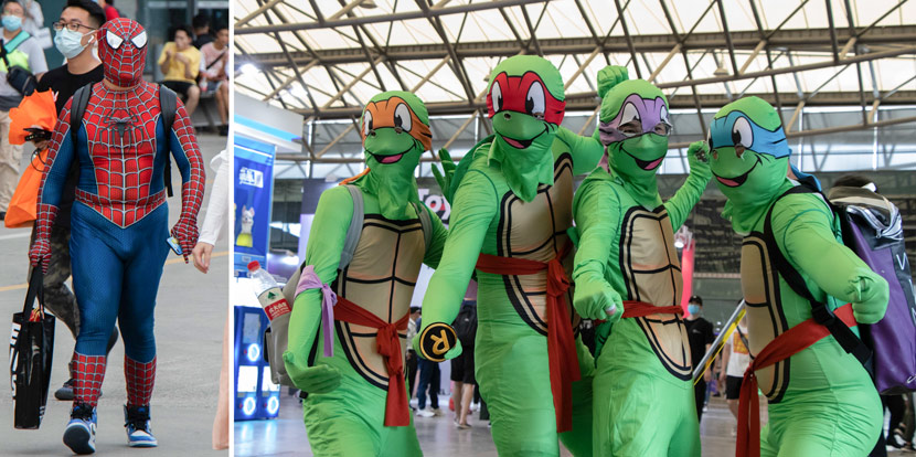 People dressed as Spider-Man and Ninja Turtles attend the ChinaJoy digital entertainment expo in Shanghai, July 31, 2020. Kenrick Davis/Sixth Tone