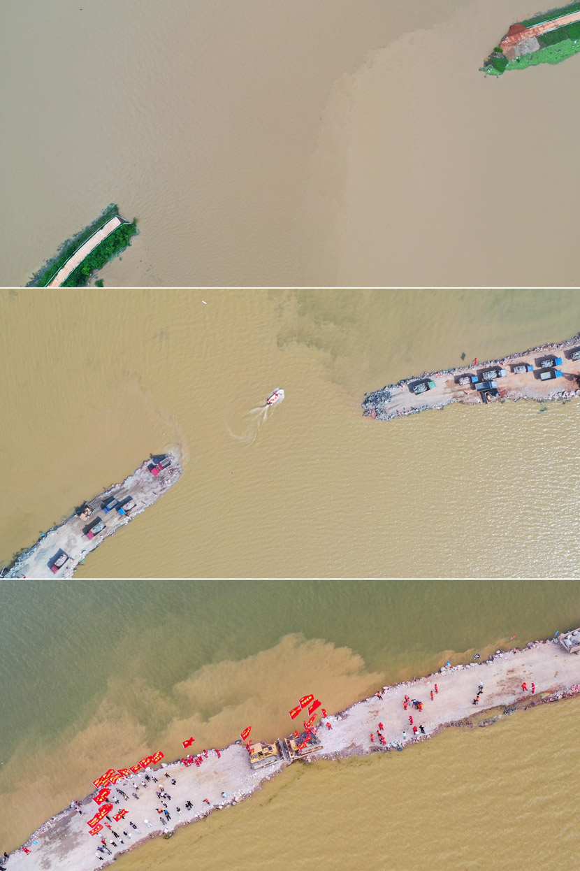 From top the bottom: An aerial view of a collapsed embankment on July 11, July 17, and July 18 in Poyang County, Jiangxi province, 2020. The embankment was repaired on July 18 after being breached by flooding on July 9. Liu Zhankun/CNS/People Visual