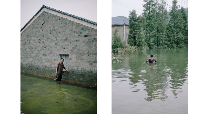 Left: Zhang Dingda, 48, points to the high water mark on the side of his home (left); right: Zhang tries to enter his flooded house in Xiaoyang Village, Duchang County, Jiangxi province, July 16, 2020.