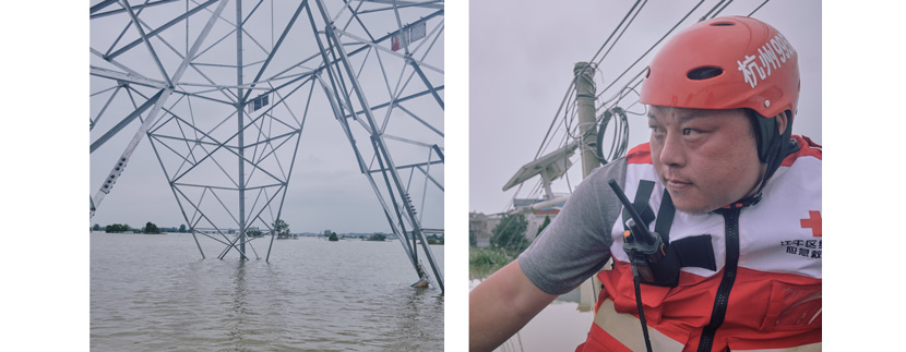 A pylon is partially submerged by the rising waters in Youdunjie Town (left); Lu Feng, leader of a rescue team from Hangzhou (right), tries to avoid running into power cables during a mission in Youdunjie town, Poyang County, Jiangxi province, July 15, 2020. Wu Huiyuan/Sixth Tone