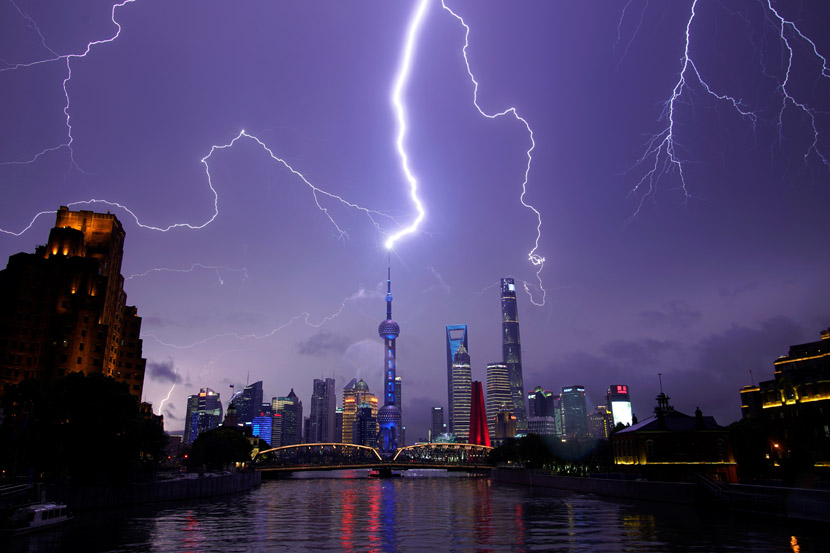 Lightning strikes the skies above Pudong, Shanghai, Aug. 10, 2020. Aly Song/People Visual