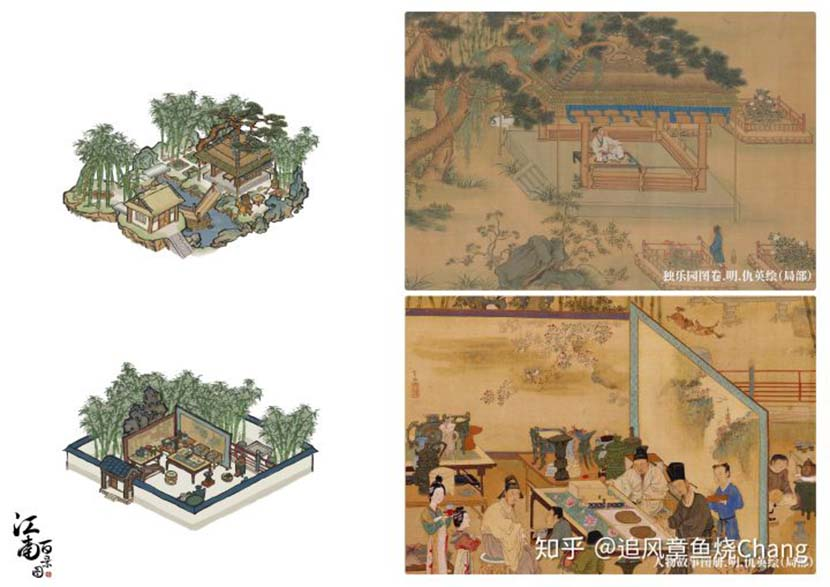 Left: Graphics from the settlement-building mobile game One Hundred Scenes of Jiangnan; right: Ancient paintings that inspired the game's design team. From @追风章鱼烧Chang on Zhihu
