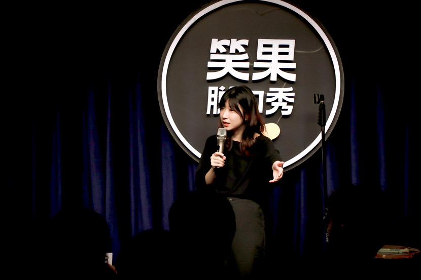Norah Yang performs standup comedy in Shanghai, 2019. Courtesy of Norah Yang