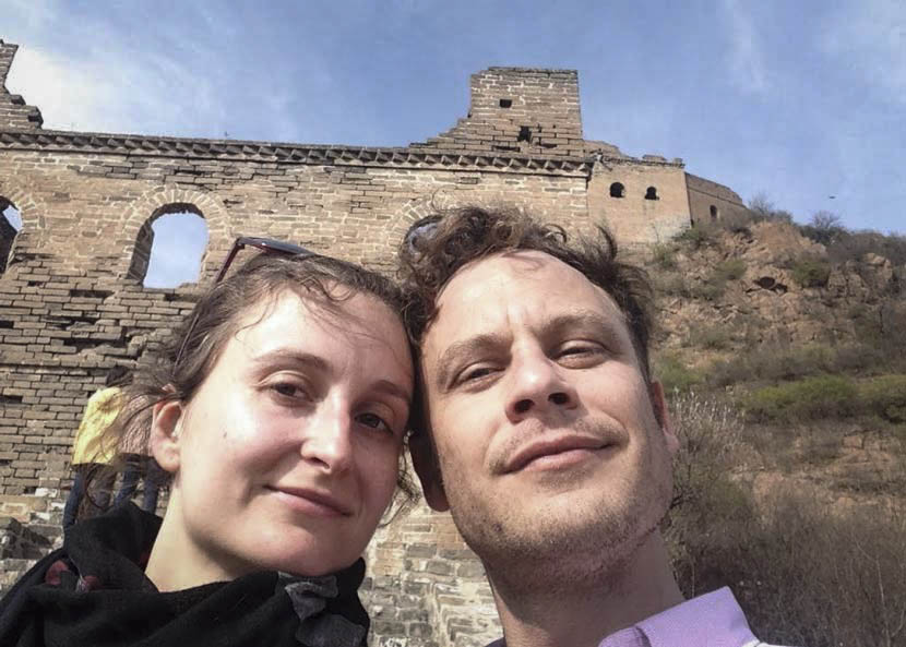 Diane Vandesmet and Harm Fitié pose for a selfie at the Great Wall of China in Beijing, 2014. Courtesy of Diane Vandesmet