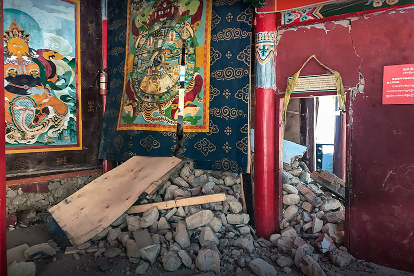 An internal view of a Buddhist temple in Jiuzhaigou County, Sichuan province, Aug. 13, 2017. Courtesy of Gu Linsheng/Sichuan University Institute for Disaster Management and Reconstruction
