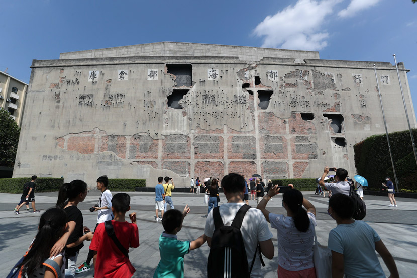 "Tourists visit the warehouse where much of the historical battle upon which ""The Eight Hundred"" is based took place, Shanghai, Aug. 23, 2020. Zhang Hengwei/CNS/People Visual"