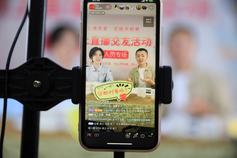 A livestreamed matchmaking event in Zhoushan, Zhejiang province, May 9, 2020. Chen Yongjian/People Visual