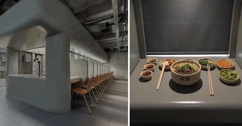 A view of the interior of 23 Seats (left) and a meal served inside one of the restaurant's cubicles (right) in Beijing. Courtesy of Sun Yun