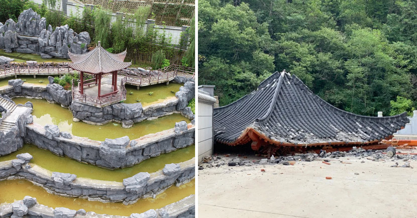 Before and after shots of the pavilion at the fancy school in Zhen'an County, Shaanxi province, August 2020. From Xinhua & China Newsweek