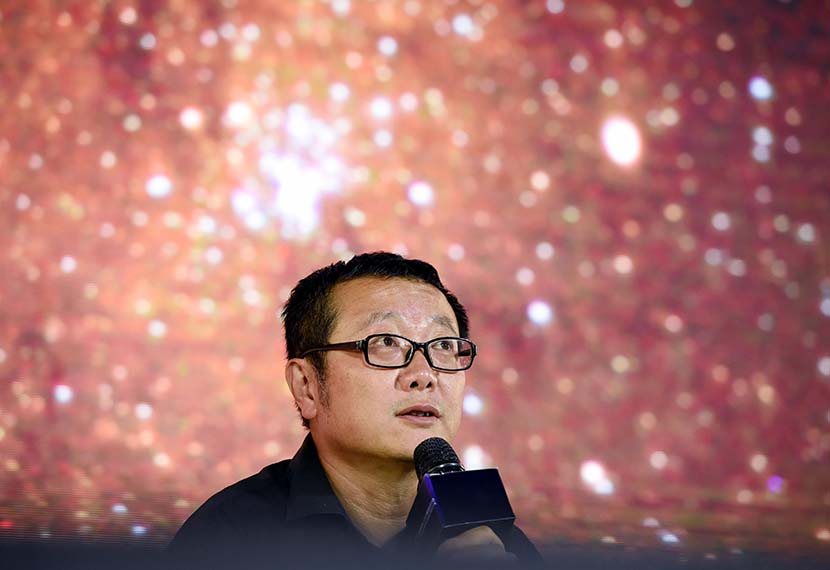 "Liu Cixin, author of the award-winning sci-fi novel ""The Three Body Problem,"" speaks at an event in Beijing, Sept. 18, 2018. People Visual"