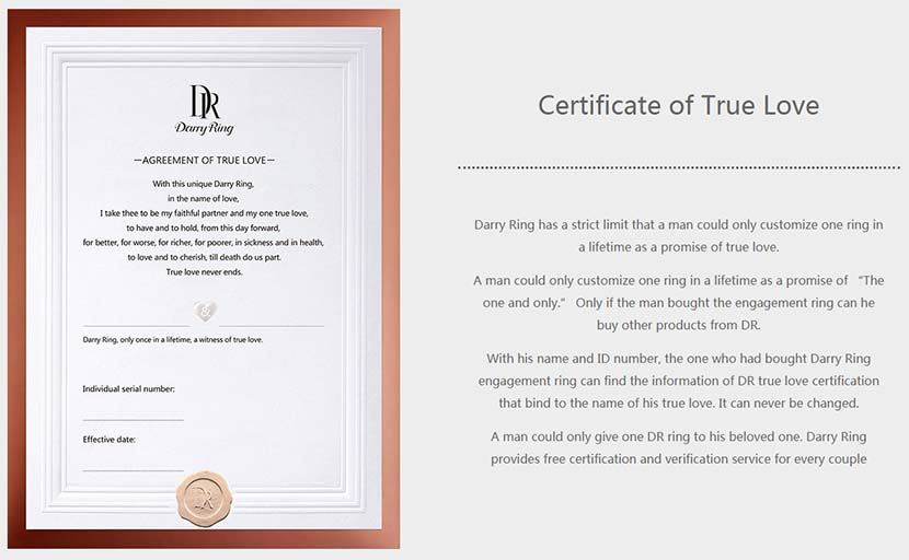 """A """"certificate of true love"""" presented to couples who purchase Darry Ring wedding bands. From the company's website"""