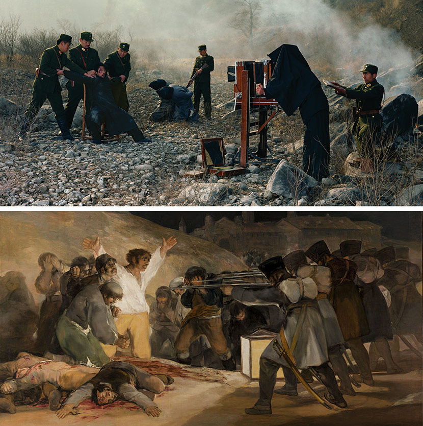 "Top: ""The Eighth of the Twelfth Lunar Month,"" 2008. Courtesy of Cai Dongdong; Bottom: ""The Third of May, 1808,"" by Francisco Goya, 1814. From Wikipedia"