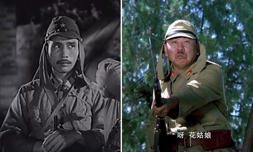"Still frames from the 1955 film ""Guerrillas Sweep the Plain"" (left) and 2003 satire ""Hands Up!"" From Douban"