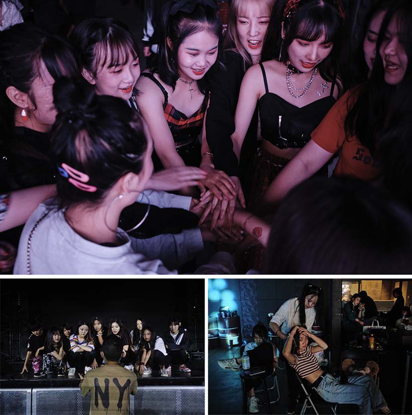 Above: participants rally before performing in the program's final show; bottom left: Bu Erfu, chief mentor at Star Master, guides students during a rehearsal for the summer camp's final show; bottom right: participants fix their hair, Chengdu, Sichuan province, August 2020. Wu Huiyuan/Sixth Tone