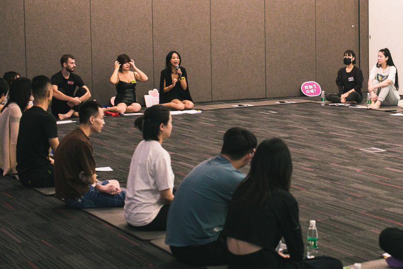 Luo Nanxi gives a talk to the participants during the foreplay workshop in Shanghai, Sept. 12, 2020. Courtesy of Luo Nanxi