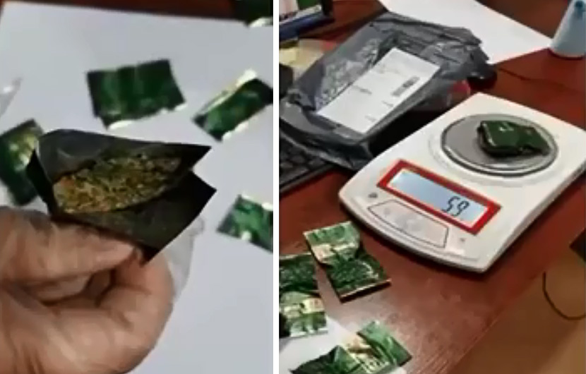Screenshots from the local news report show tea bags stuffed with marijuana. From @荔枝新闻 on Weibo