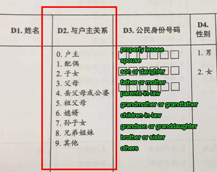 A form shows the various officially acknowledged relationships between members of a household for China's 2020 census. Courtesy of LGBT Rights Advocacy China