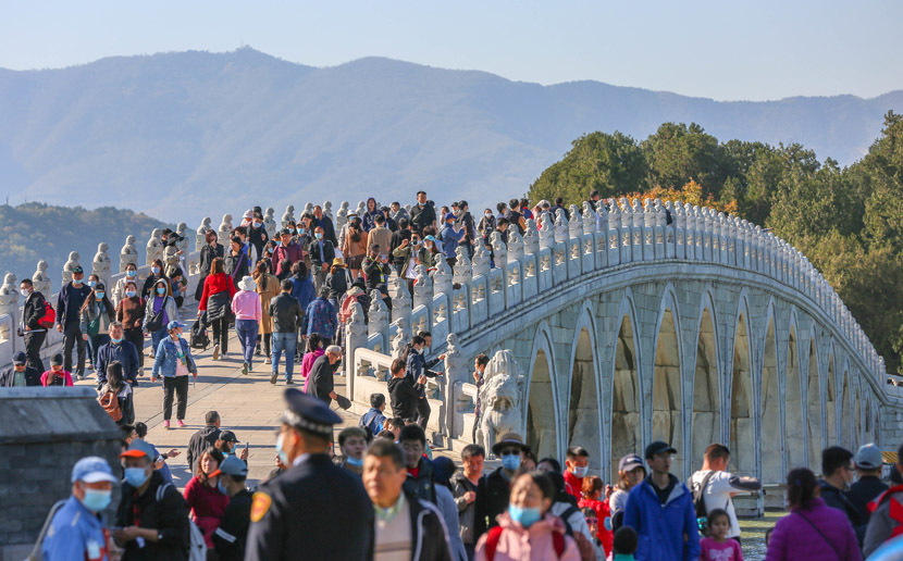 Visitors enjoy the autumn view in the Summer Palace, Beijing, Oct. 24, 2020. IC