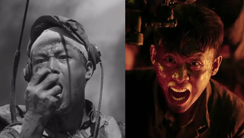 """Left: A screenshot from the 1964 film """"Heroic Sons and Daughters"""" showing protagonist Wang Cheng calling for a bombardment of his position. From Youtube; Right: A still from 2020 film """"Sacrifice"""" showing soldier Zhang Fei challenging an American fighter plane to a duel. From Douban"""