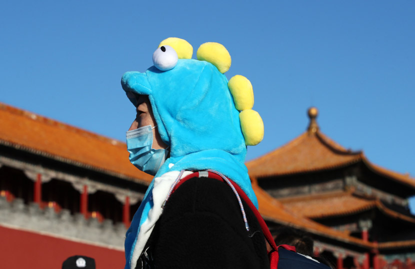 A woman wearing a dinosaur hat stands outside the Palace Museum in Beijing, Nov. 8, 2020. IC