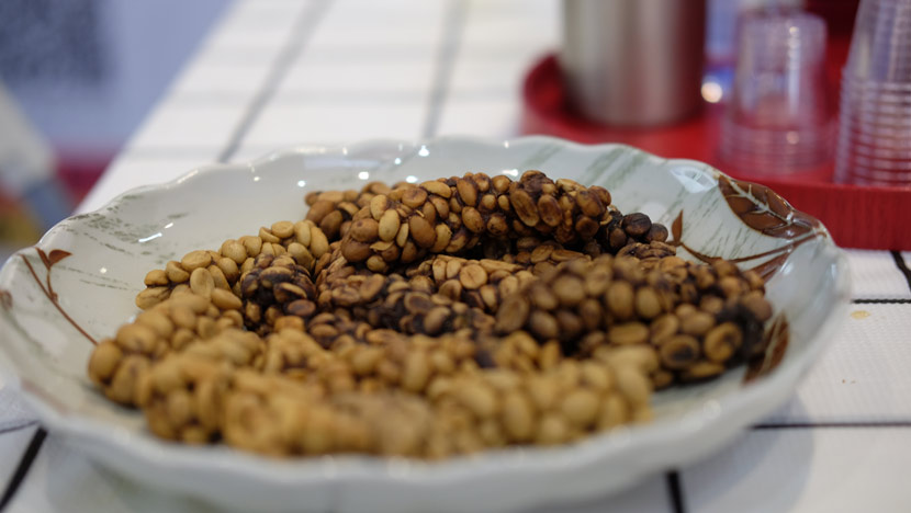Kopi luwak made from coffee beans digested by Asian palm civets in East Timor is displayed at the third annual China International Import Expo in Shanghai, Nov. 8, 2020. Du Xinyu/Sixth Tone