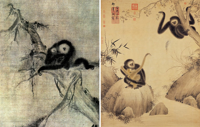 Left: A painting of a gibbon mother and baby by Song Dynasty painter and monk Muqi (or Muxi, ca. early 13th century). Courtesy of the Huntington Archive, University of Chicago; Right: A painting of three gibbons attributed to Ming dynasty emperor Zhu Zhuanji (ca. 1399-1435). Courtesy of the National Palace Museum