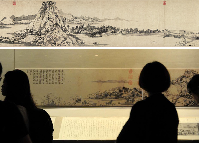 "Top: Huang Gongwang's ""Fuchun Mountain Residence."" People Visual; Bottom: Visitors look at the painting during the exhibition ""Landscapes reunited: Huang Gongwang and Dwelling in the Fuchun Mountains,"" which brought together the two halves of the painting, Taipei, 2011. Xinhua"