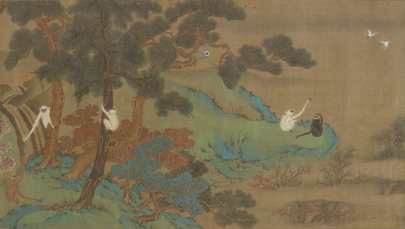 A landscape painting of gibbons and cranes formerly attributed to Qiu Ying (ca. 1494-1552). Gibbons and cranes were frequently depicted together, both believed to derive supernatural powers from their long limbs and singing ability. Courtesy of the National Museum of Asian Art