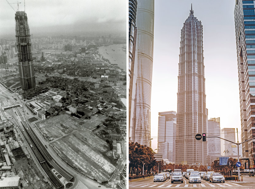 Left: An aerial view of the Jin Mao Tower under construction, taken from the Oriental Pearl Tower in Shanghai, 1997. Courtesy of Wu Jianping; Right: A view of the Jin Mao Tower in 2018. Lṳ̄ Wei/People Visual