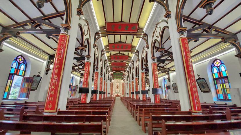 An interior view of the Sanliqiao Catholic Church in Wuxi, Jiangsu province, Aug. 11, 2020. Courtesy of Zhu Yiwen