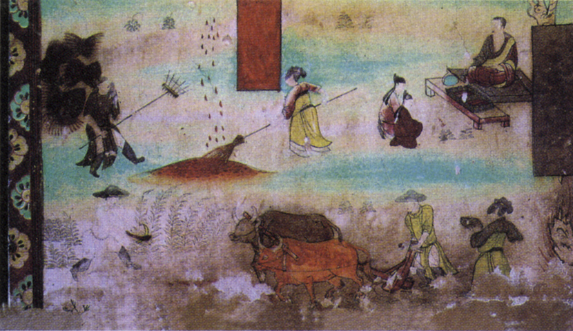 A view of a mural depicting life in an agricultural community in ancient China, in Dunhuang, Gansu province, 2008. People Visual