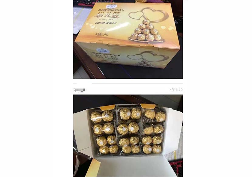 An image of the Ferrero Rocher chocolates the dorm supervisor handed out to students on Thanksgiving at Harbin Institute of Technology in Heilongjiang province. From Weibo