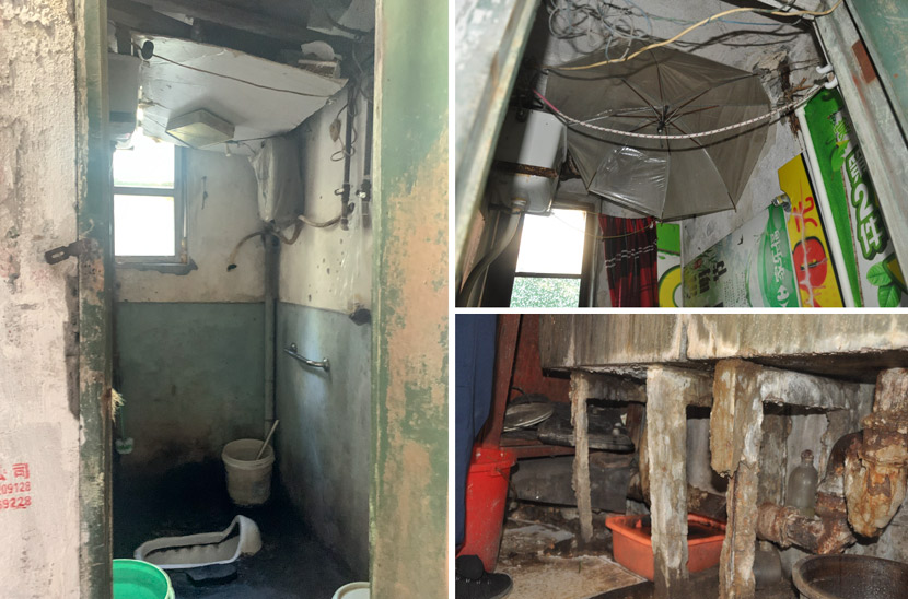 The shared bathroom and kitchen in Pengpu New Village, Shanghai, Nov. 4, 2020. To prevent water leaking from ceilings and pipes, residents have come up with makeshift solutions like empty mooncake boxes, umbrellas, and wash basins. Wang Lianzhang and Zhang Shiyu/Sixth Tone