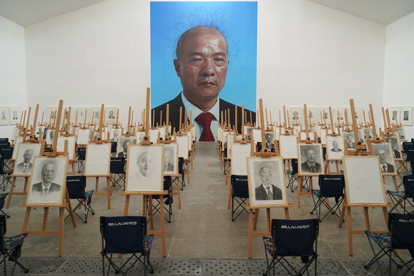 "A view of Wang Qingsong's solo exhibition ""On the Field of Hope,"" Beijing, 2020. Courtesy of Wang Qingsong"