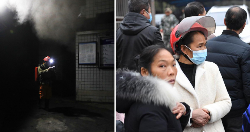 Left: A firefighter checks the carbon monoxide concentration at the entrance of the Diaoshuidong coal mine after an apparent carbon monoxide leak in Yongchuan District, Chongqing, Dec. 4, 2020. Huang Wei/Xinhua; Right: Relatives of the miners wait outside the mine, Dec. 5, 2020. According to a local rescue team, 23 people were killed, with one rescued following the accident. Chen Chao/CNS