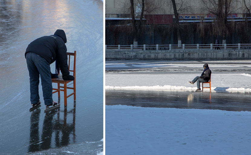 A man learns to ice skate with a chair in Jilin, Jilin province, Dec. 1, 2020. Zhu Wanchang/People Visual