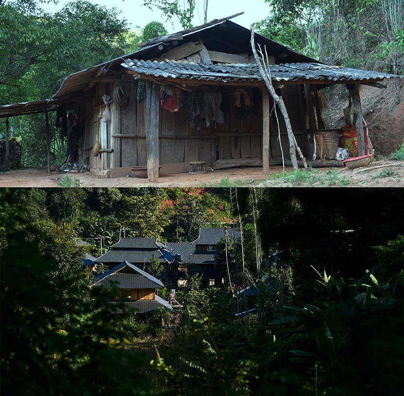 Above: A house in Hebian Village before the renovation project. Courtesy of the village's cooperative. Below: An aerial view of Hebian Village, Yunnan province, Nov. 1, 2020. Wu Huiyuan/Sixth Tone