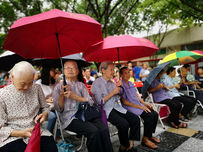 Elderly self-comb women take part in a self-comb cultural heritage memorial event in Foshan, Guangdong province, 2018. Zheng Junbin/Southern Metropolis Daily/People Visual