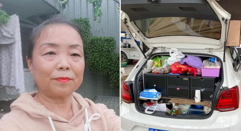 Left: A selfie of Su Min; right: her trunk full of supplies, 2020. From@50岁阿姨自驾游 on Weibo