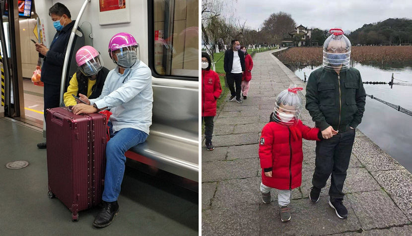 Left: A couple wear helmets over their face masks on the subway in Guangzhou, Guangdong province, Jan. 29, 2020. Tan Qingju/Southern Metropolis Daily; Right: Tourists wear helmets made from plastic bottles, 2020. From @眼科小超人老梁 on Weibo