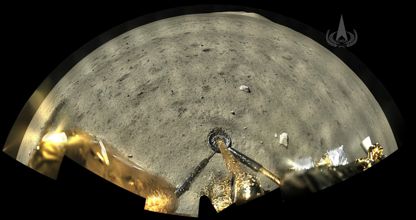 An image taken by a panoramic camera installed on the Chang'E 5 probe's lander-ascender combination, before the ascender blasted off from the moon with lunar samples, released on Dec. 4, 2020. CNSA via Xinhua