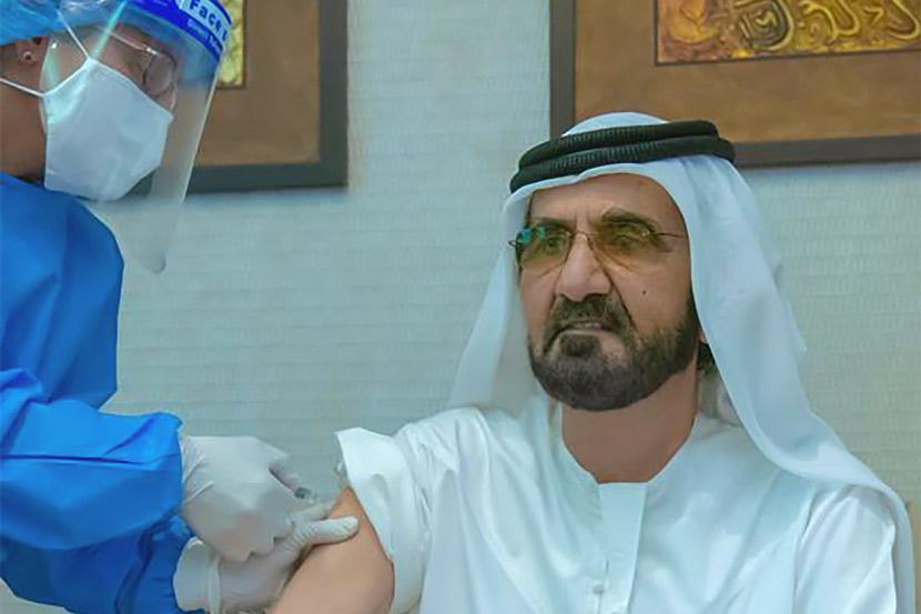 Ruler of Dubai Sheikh Mohammed bin Rashid Al-Maktoum receives Sinopharm's COVID-19 vaccine in Dubai, Nov. 3, 2020. AFP via People Visual