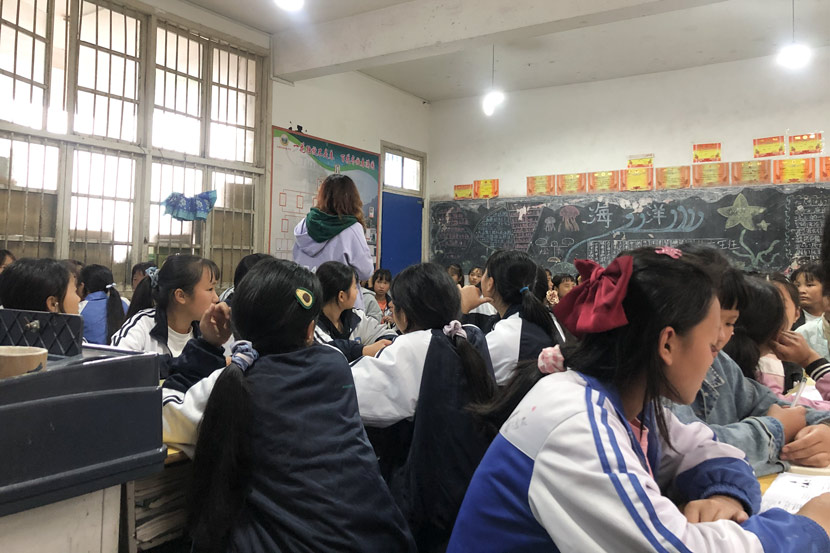 A lecture run by the Stand By Her group at a middle school in Congjiang County, Guizhou province, Oct. 26, 2020. Courtesy of Lei Di