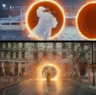 "Screenshots show similar scenes in Marvel's ""Doctor Strange"" and Chinese production ""The Yin-Yang Master: Dream of Eternity."" From Weibo"