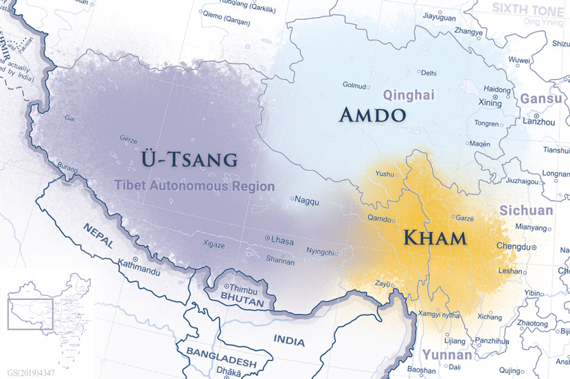 The three main Tibetan subregions, based on Xu Jun's research.